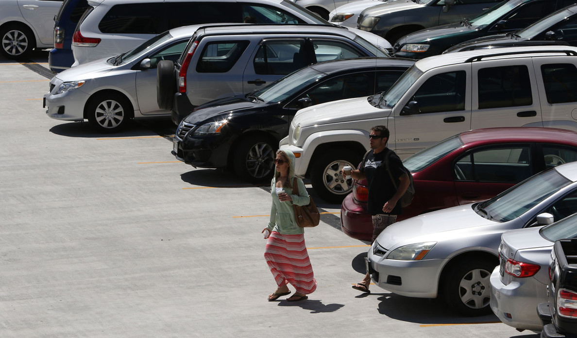 Cars reverse parked at Ala Moana Shopping Center top deck. 10 march 2015. photograph Cory Lum/Civil Beat