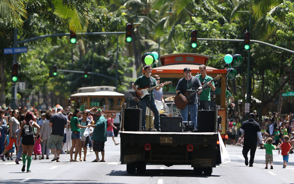 This live music venue was portable during Honolulu's 48th annual St. Patrick's Day Parade on Tuesday.