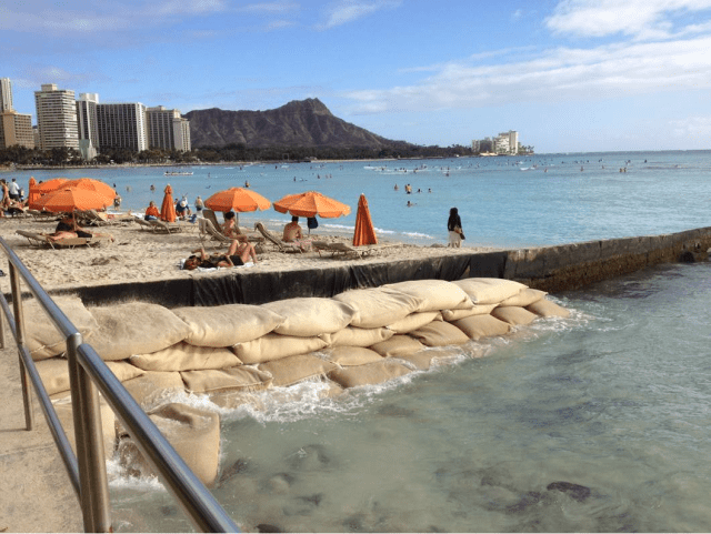 A portion of the beach fronting the Royal Hawaiian Hotel has disappeared due to erosion.