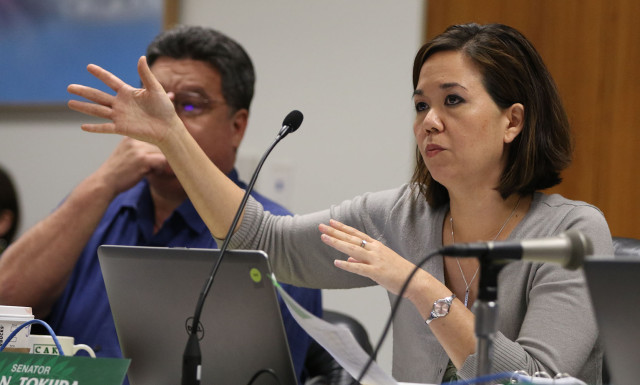 Ways Means Chair Senator Jill Tokuda gestures while asking Mayor Kirk Caldwell questions. 4 march 2015. photograph Cory Lum