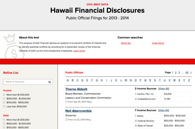 Disclosure Database Screenshot