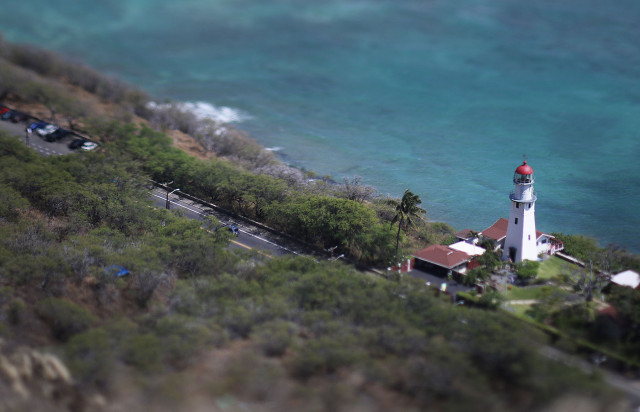 Aerial view of Diamond Head Lighthouse. 17 april 2015. photograph Cory Lum/Civil Beat