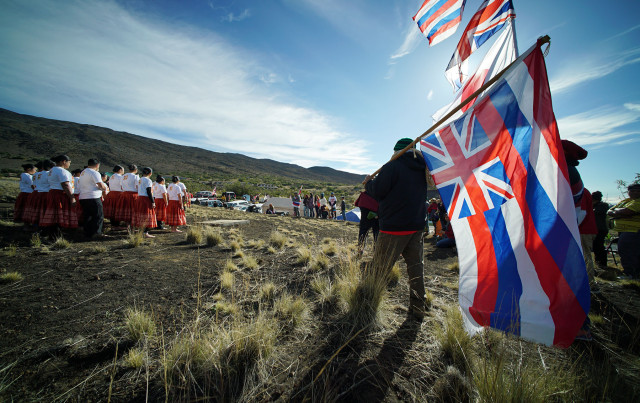 Hula Halau from around the state sing and dance in respect to supporters of Mauna Kea. 10 april 2015. photograph Cory Lum/Civil Beat