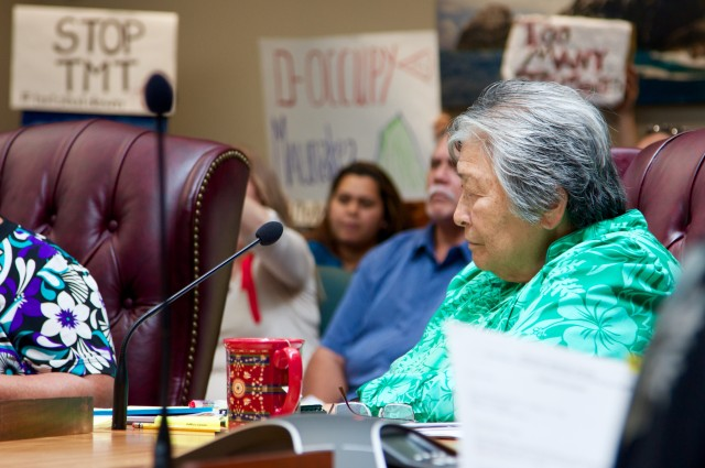 OHA Trustee Haunani Apoliona listens to testimony during an April 2015 meeting.