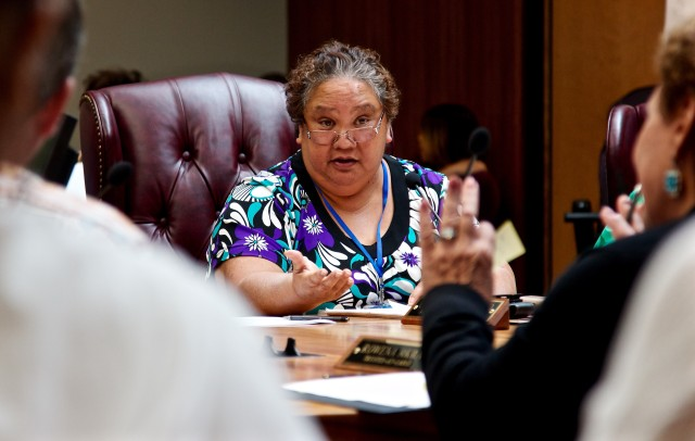 OHA Trustee Colette Machado makes a point during an April 2015 meeting.