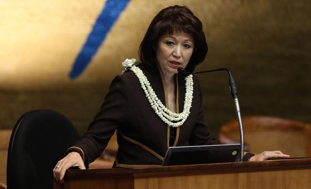 Senate President Donna Mercado Kim at the Capitol. 14 april 2015.  photograph by Cory Lum/Civil Beat