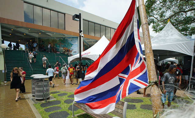 Mauna Kea rally held at the University of Hawaii at Manoa near Campus Center. 13 april 2015. photograph Cory Lum/Civil Beat