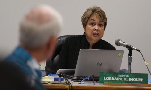 Senator Lorraine Inouye questions Mayor caldwell during senate ways and means hearing. 7 april 2015. photograph by Cory Lum/Civil Beat