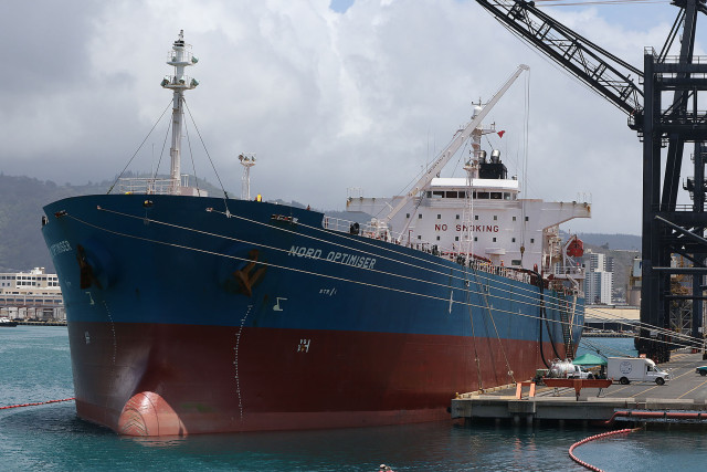 Fuel tanker rests at Sand Island. 15 april 2015. photograph by Cory Lum/Civil Beat