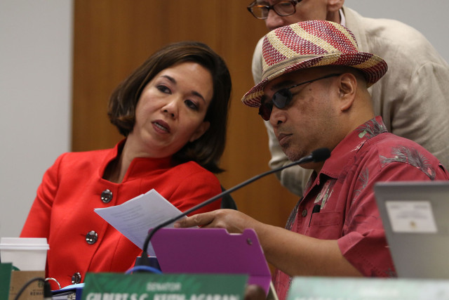 Senate Ways and Means committee Chair Senator JIll Tokuda and Senator Gilbert Keith Agaran  during hearing. 1 april 2015. photograph Cory Lum/Civil Beat