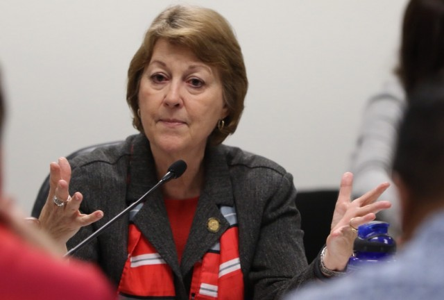 Sen. Roz Baker gestures during a hearing in April.