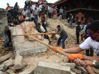 Patan Durbar Square damaged in Nepal earthquake, April 2015