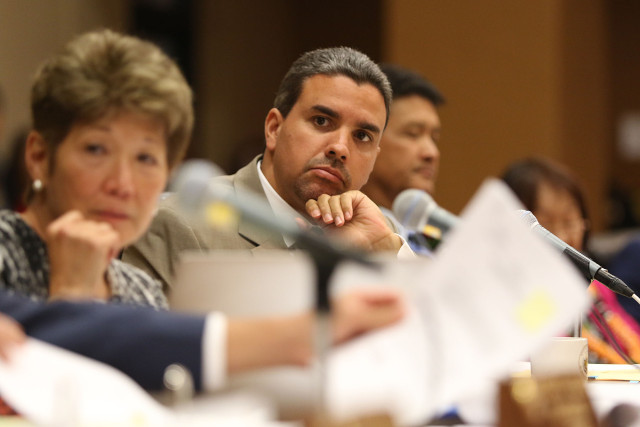 Councilman Ikaika Anderson during Hoopili hearing. 6 may 2015. photograph by Cory Lum/Civil Beat