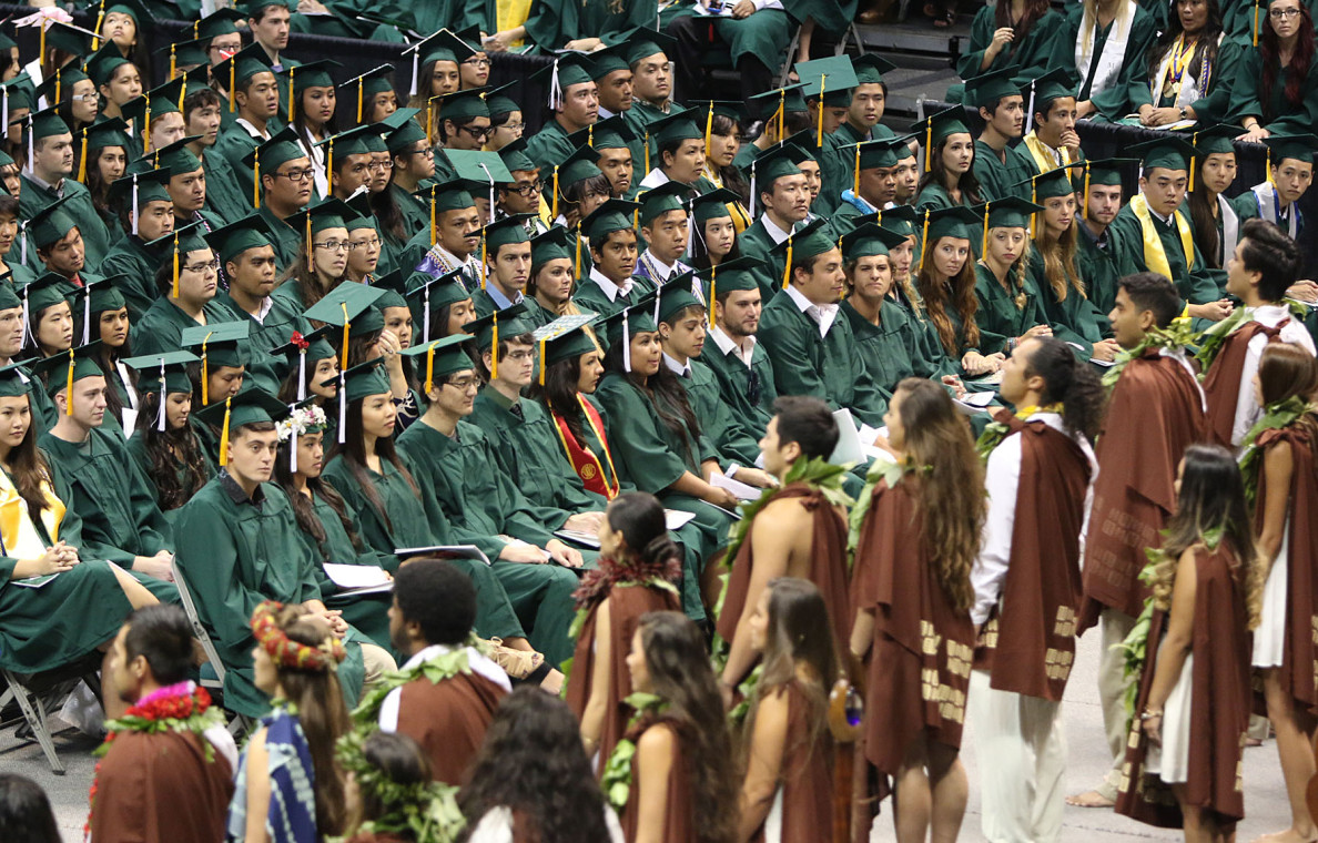 Students from the Hawai'inuiakea School of Hawaiian Knowledge perform an oli during the undergraduate commencement ceremony for 1,700-plus UH seniors.