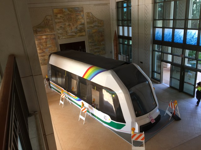 A rail car for the new Honolulu rail line is on display at Kapolei Hale.