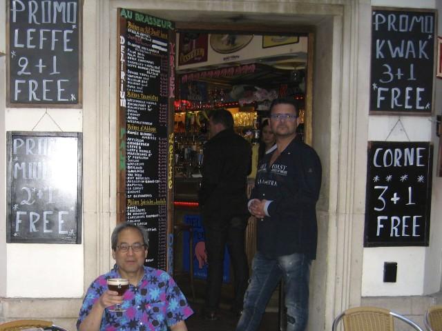 Paul Arinaga sips a beer in Brussels