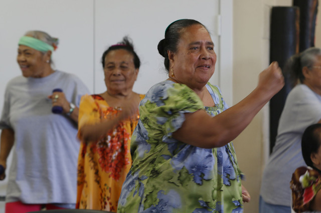 Seniros enjoy a dance class at the Kuhio Park Terrace Family Center. 12 may 2015. photograph Cory Lum/Civil Beat