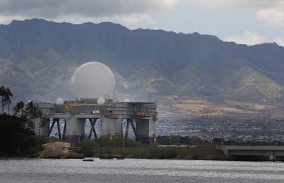 Sea-Based X Band radar or the 'Golf Ball' sits near Ford Island, Pearl Harbor. 27 may 2015. photograph by Cory Lum/Civil Beat