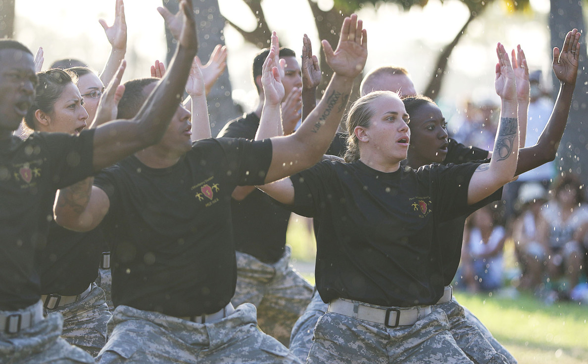 The Ha'a Koa or 'dance of a warrior' was a fitting addition to the celebration in Hawaii which honored the Army in the Pacific.