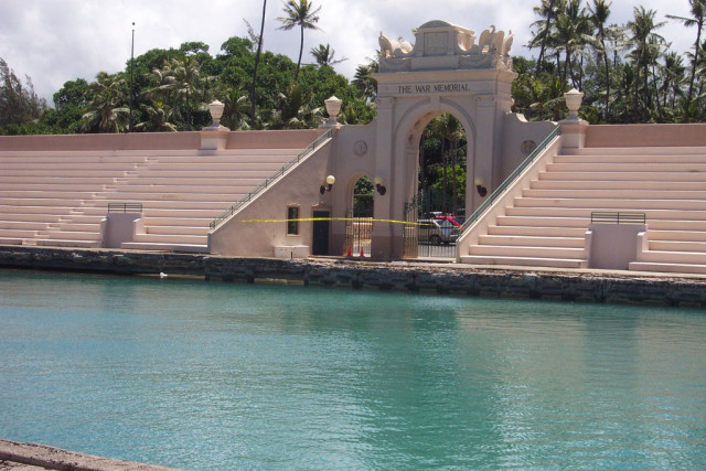 The Waikiki War Memorial Natatorium is closed now, but its iconic swimming pool and bleachers remain.