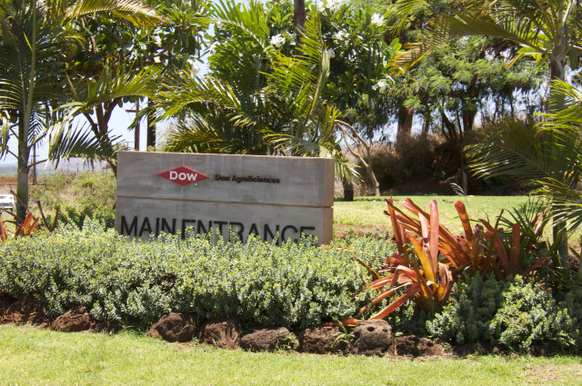 A sign advertises the entrance to Dow AgroSciences in west Kauai on June 16, 2015.