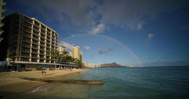 Passing showers blanketed Waikiki's landmark Diamond Head.  9 june 2015. photograph Cory Lum/Civil Beat