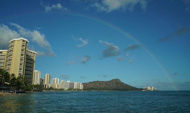 Rainbow frames Waikiki's landmark Diamond Head. 9 june 2015. photograph Cory Lum/Civil Beat