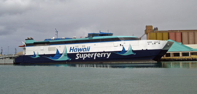 The Superferry Alakai, shown at Pier 19, sailed between Maui and Oahu between 2007 and 2009.