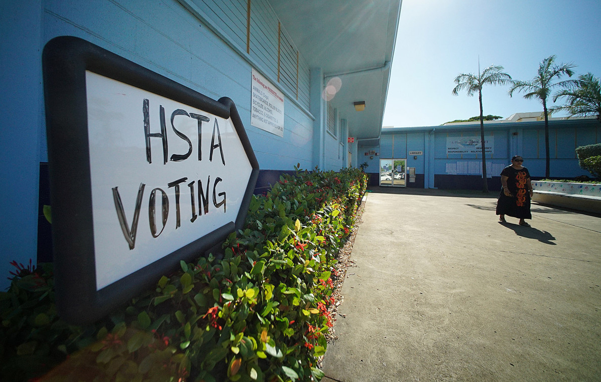 The Hawaii State Teachers Association held its third round of voting for new leadership on Tuesday. Kaimuki Middle School was one of the sites where teachers had to vote in person after earlier rounds of online voting were deemed invalid by the current board.