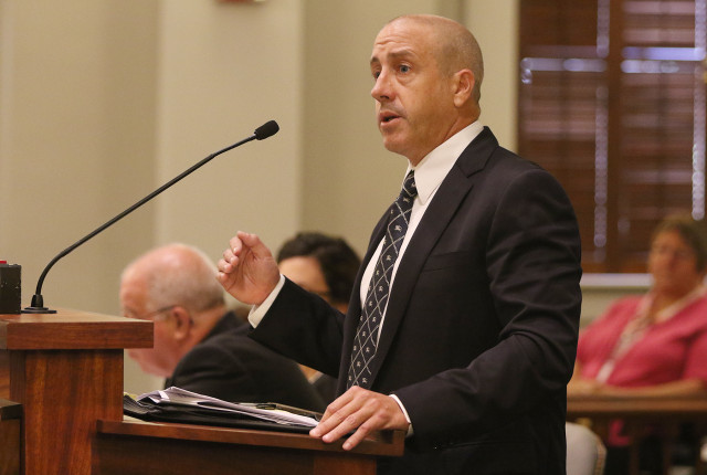 Hawaii State Supreme Court oral arguments. Attorney Gregory Kugle representing  DR Horton-Schuler Homes, The Land Use commission, Office of Planning and Dept of Planning and Permitting .  25 june 2015. photograph Cory Lum/Civil Beat