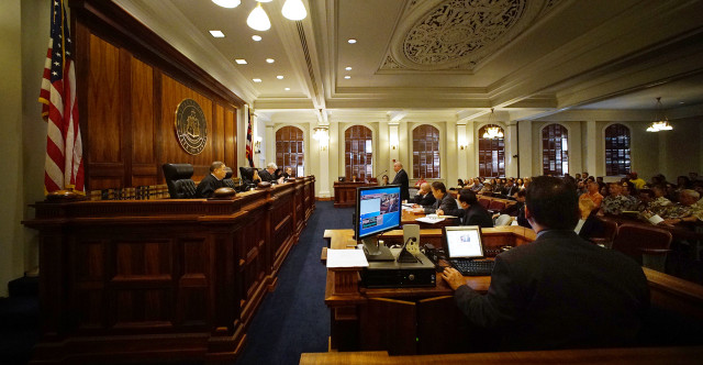 Wide view of Hawaii State Supreme Court room. Hoopili case.  25 june 2015. photograph Cory Lum/Civil Beat