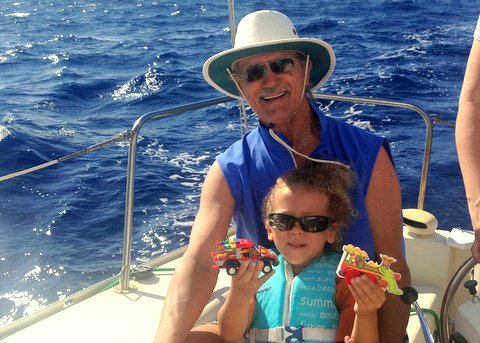 Rod Todorovich and his son off the coast of Oahu