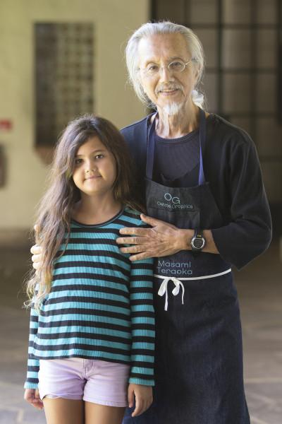 Masami Teraoka and his daughter 8-year old Eve. Honolulu Museum of Art.   25 june 2015. photograph Cory Lum/Civil Beat