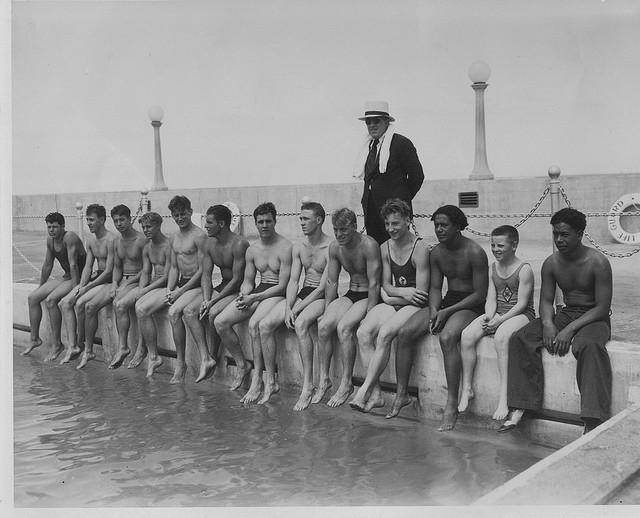 The U.S. swim team at the Natatorium.