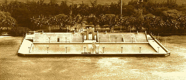 This Sepia of Waikiki Natatorium War Memorial near Kaimana Beach was done in 1928, just a few years after it opened.