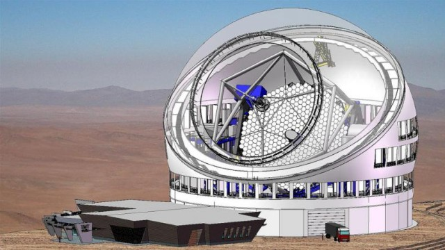 Artist's rendering of the Thirty Meter Telescope with all vents open. The vents are designed to optimize air flow over the primary mirror so as to reduce mirror seeing effects.