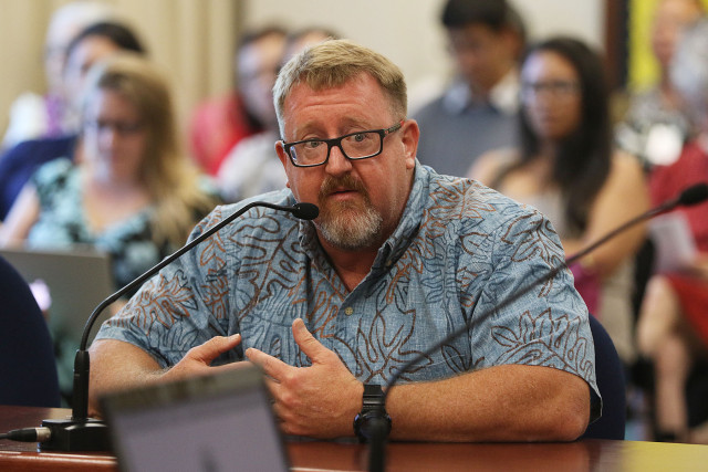 Representative Bob McDermott testifies in BOE hearing on sex education.  16 june 2015. photograph by Cory Lum/Civil Beat
