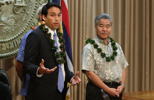 Representative Chris Lee before Governor Ige's press conference signing some energy bills into law. 8 june 2015. photograph Cory Lum/Civil Beat