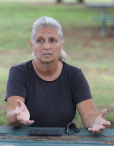 Representative Jo Jordan speaks to reporters at the Waianae Boat Harbor about homeless issues and issues on the waianae side. 19 june 2015. photograph Cory Lum/Civil Beat
