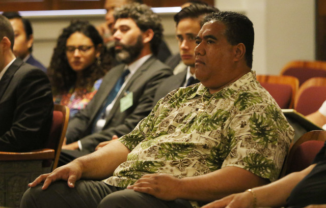 SHOPO President Tenari Maafala leaves the Hawaii Supreme Court room after arguments.  18 june 2015. photograph Cory Lum/Civil Beat