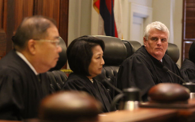 Hawaii State Supreme Court Chief Justice Mark Recktenwald during oral arguments Sierra Club and Sen Clayton Hee petitioners vs. DR Horton-Schuler Homes, The Land Use commission, Office of Planning and Dept of Planning and Permitting .  25 june 2015. photograph Cory Lum/Civil Beat