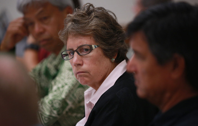 DLNR Chair Suzanne Case listens to testimony regarding the possibile limiting of access to Mauna Kea access road. 10 july 2015. photograph by Cory Lum/Civil Beat
