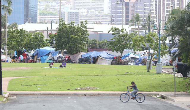 Street scene fronting Hawaii Children's Center in Kakaako with tents. 3 july 2015. photograph by Cory Lum/Civil Beat