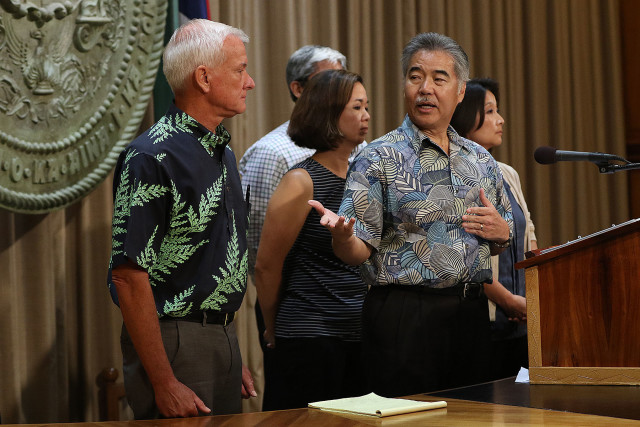 Left to right, Mayor Kirk Caldwell, Governor David Ige, Sen Jill Tokuda and right Rep Sylvia Luke in a press conference held about joint state/city solution to homeless issues. no date decided.  27 july 2015.  photograph by Cory Lum/Civil Beat