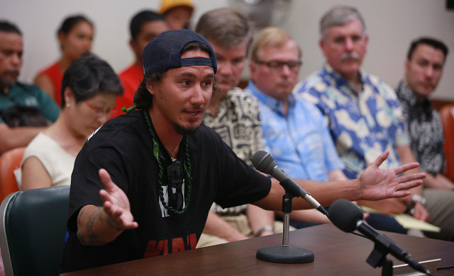 Mauna Kea 'Protector' Kahookani Kanuha makes a point during DLNR Board meeting held at the Kalanimoku Building. 10 july 2015. photograph by Cory Lum/Civil Beat