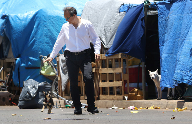 Representative Tom Brower walks down Ohe Street as a dogs popped out from tents to bark at him while was on his way to the Olomehani street intersection for press conference. photograph Cory Lum/Civil Beat