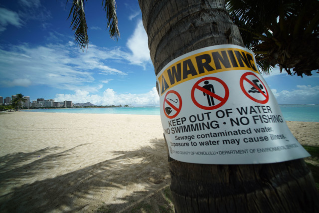 Ala Moana Beach remains closed a day after 500,000 or more gallons of untreated wastewater overflowed city manholes contaminating the popular beach park. 25 aug 2015. photograph Cory Lum/Civil Beat