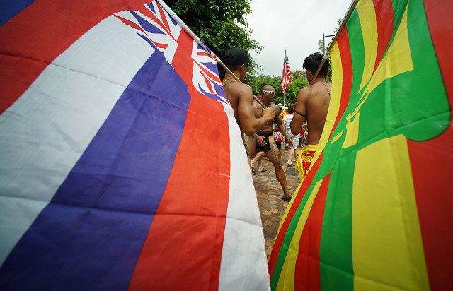Demonstrators before the start of the Aloha Aina Unity March at Saratoga Road near Kalakaua Avenue. 9 aug 2015. photograph Cory Lum/Civil Beat