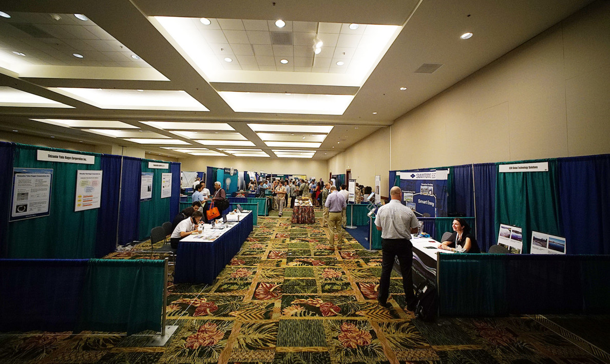 Rows of booths were set up Monday for the first day of the Asia Pacific Resilience Innovation Summits & Expo held at the Hawaii Convention Center.