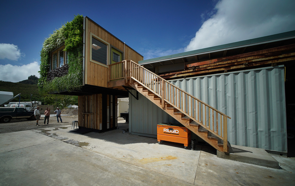 Elevate micro house with stairs leading to entrance. 6 aug 2015. photograph Cory Lum/Civil Beat